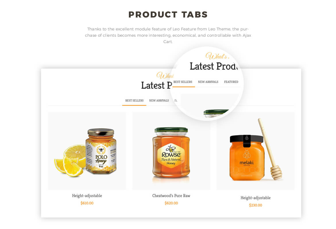 Product Tab feature - Bos Ocbee prestashop 1.7 theme - honey, food, beauty store