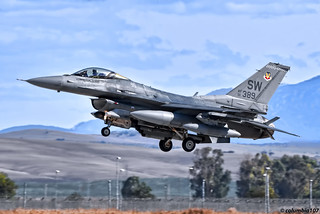 "DSC_2662 copyright 5: ""General Dynamics F-16CM Fighting Falcon on finals at Moron AF Base"""