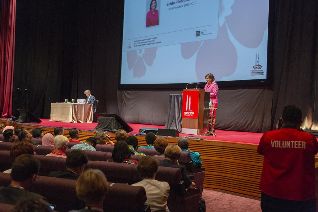 IFLA 2018, Kuala Lumpur | Glòria Pérez-Salmerón on stage | Flickr