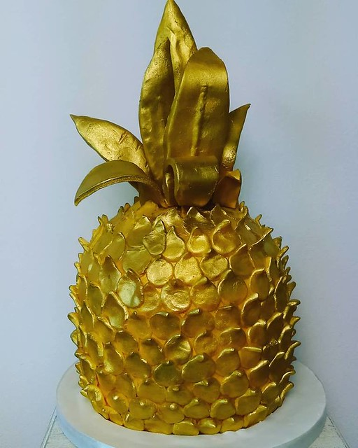 Gold Pineapple Shaped Cake by Emmy Harris of Asylum of Cakery
