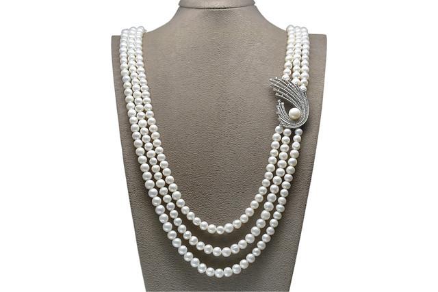 Ahsen 925K Gümüş Broşlu 3 Sıralı Doğal Beyaz inci Kolye AH-00087