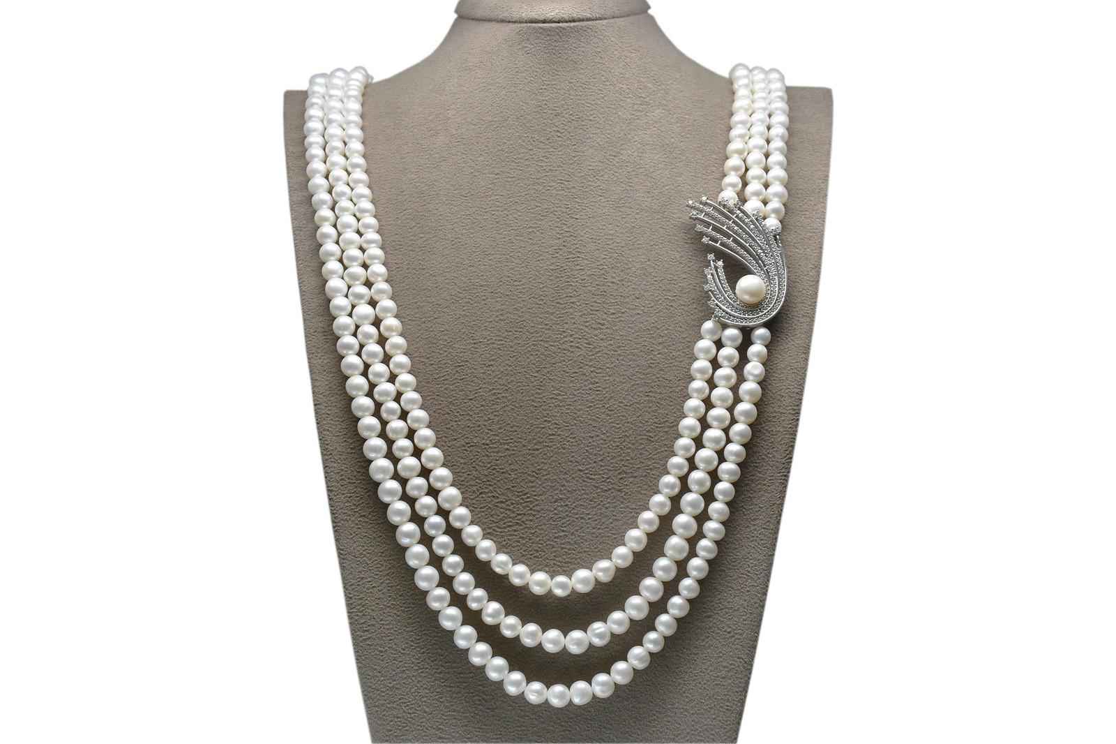 - Ahsen 925K Gümüş Broşlu 3 Sıralı Doğal Beyaz inci Kolye AH-00087