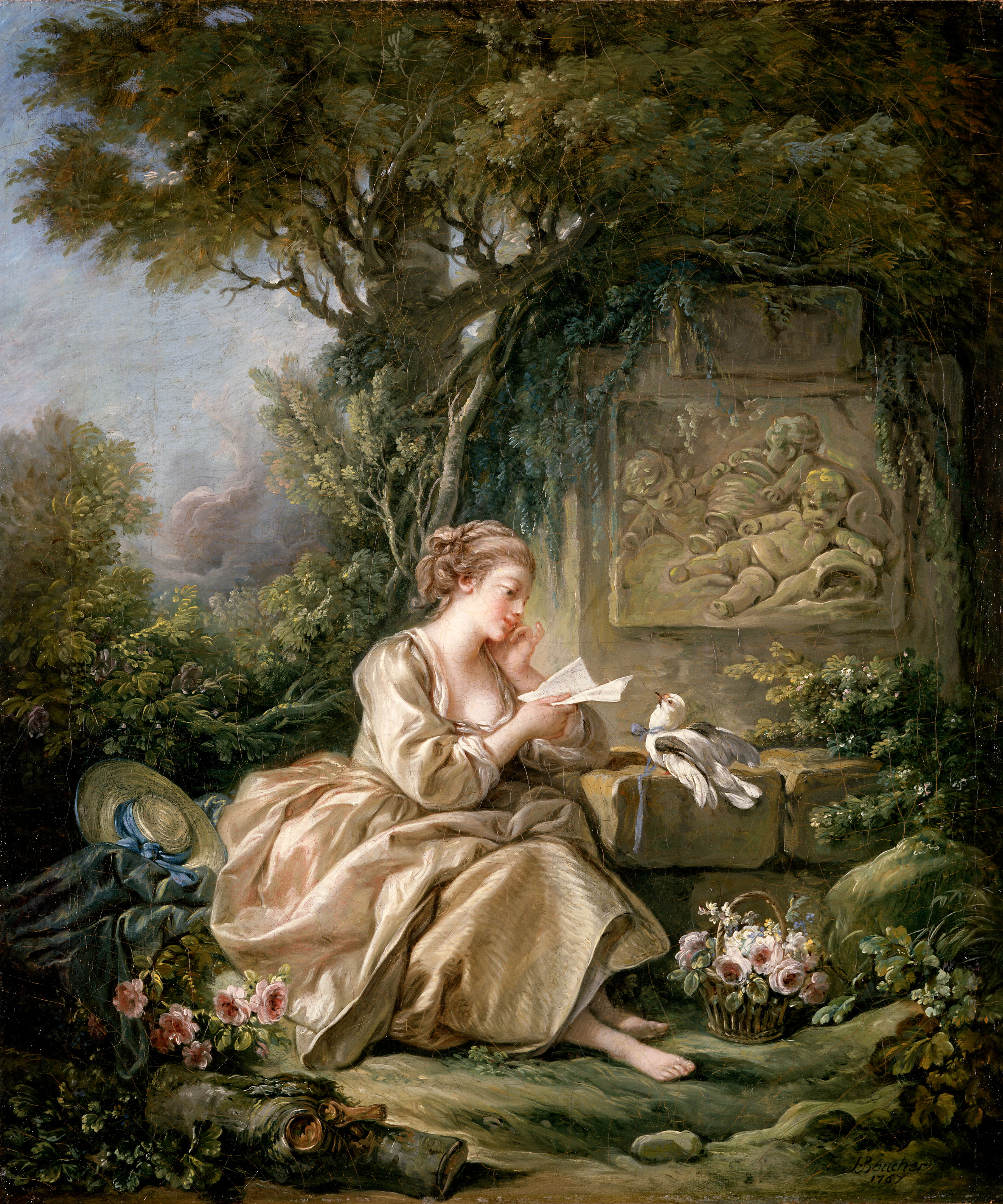 The Secret Message, oil on canvas painting by François Boucher (1703–1770) in 1767 (painting is signed and dated). Currently at the Herzog Anton Ulrich-Museum, Braunschweig, Lower Saxony, Germany.