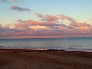 North Sea Sunset Reflection