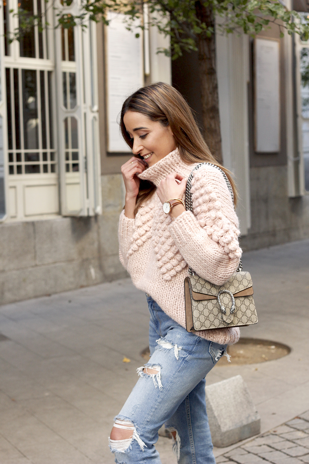 chunky pink sweater ripped jeans white fila sneakers gucci bag street style fall outfit 20184517