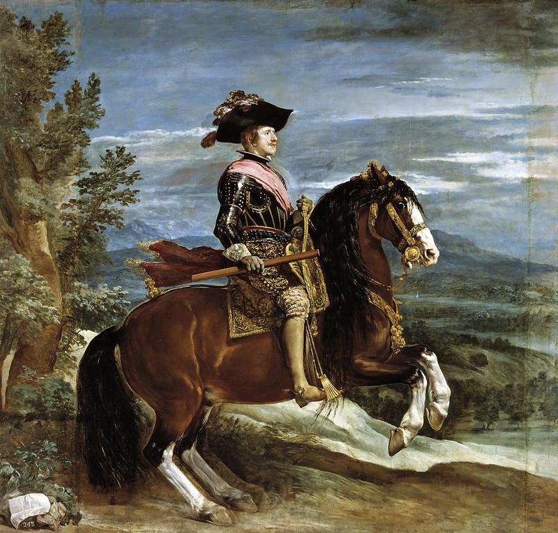 Diego Velázquez - Retrato ecuestre del rey Felipe IV de España (1601-1665), que fue hijo del rey Felipe III de España y de la reina Margarita de Austria.