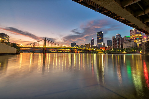 alleghenyriver andywarholbridge hdr nikon nikond5300 outdoor pennsylvania pittsburgh bridge clouds downtown geotagged lights longexposure morning reflection reflections river sky skyscraper sunrise water unitedstates