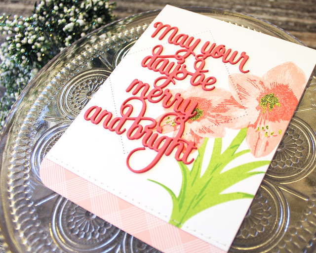 LizzieJones_PapertreyInk_October2018_BloomingAmaryllis_SayingItSimply_Merry&BrightCard2