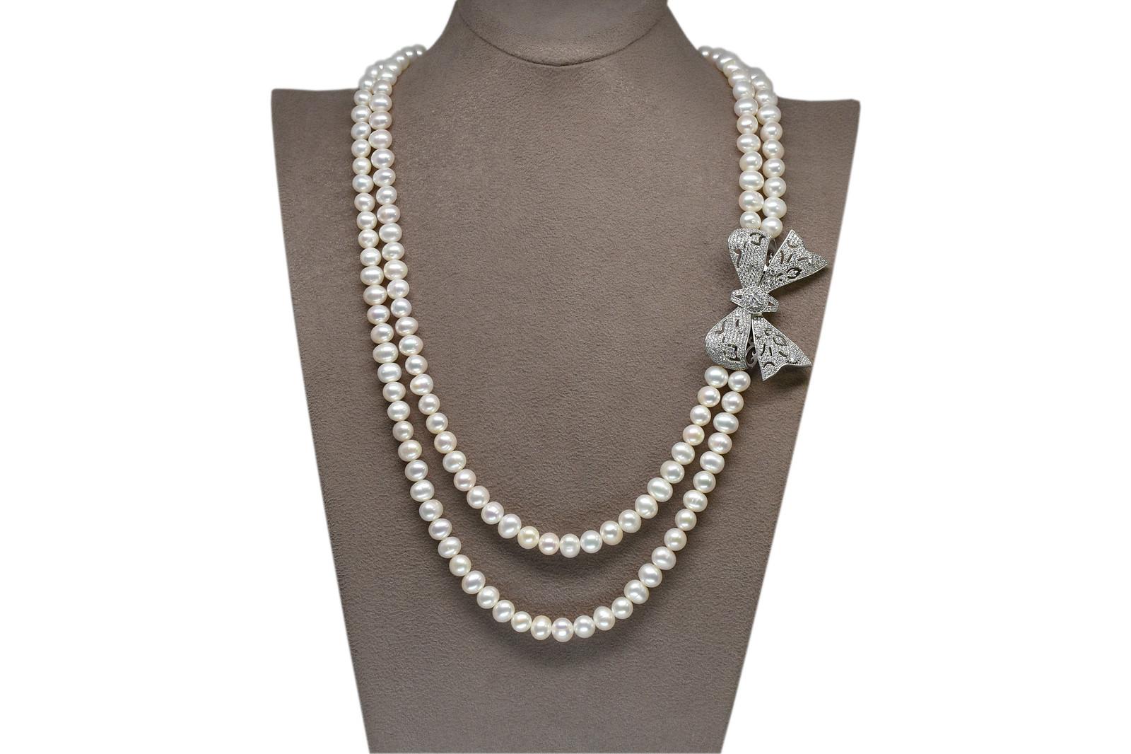 - Ahsen 925K Gümüş Broşlu 2 Sıralı Doğal Beyaz inci Kolye AH-00115