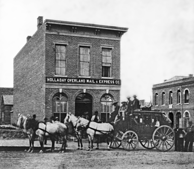 Stagecoach at Holladay Express office in Boise City, Idaho, circa mid-1860s.