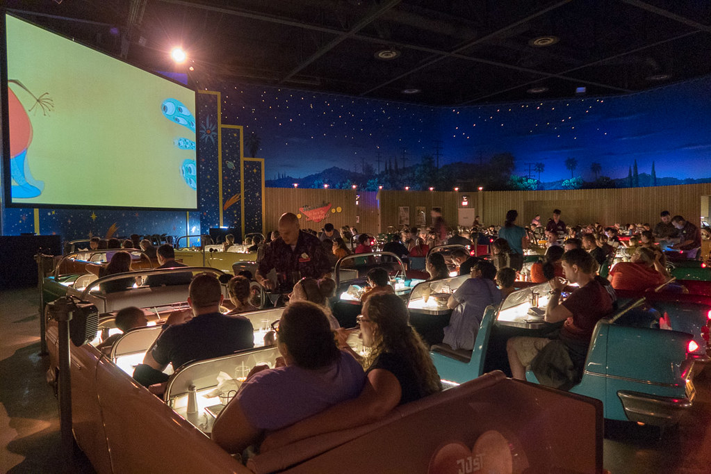 Seating at Sci Fi Dine In Restaurant | Hollywood Studios