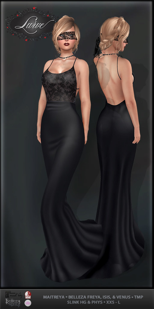 *Lurve* Masquerade Queen formal Gown in Coal - TeleportHub.com Live!