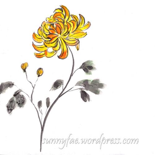 inktober chrysanthemum day 13