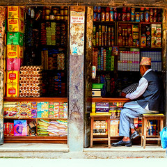 Shop keeper waiting for customers in Bhaktapur, Nepal
