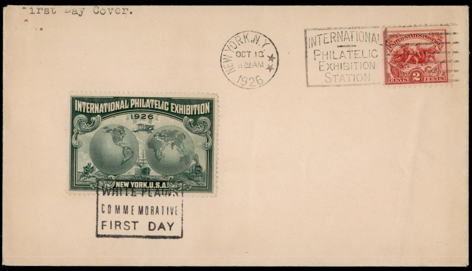 United States - Scott #629 (1926) first day cover with New York cancellation and beautiful poster stamp created for the 1926 International Philatelic Exhibition.