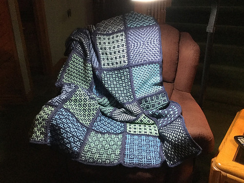 Debbie (debsnubs) Wacky Weave Squares blanket! I love blues!!