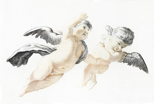 Two flying Putti by Johan Teyler (1648-1709). Original from the Rijks Museum. Digitally enhanced by rawpixel. | by Free Public Domain Illustrations by rawpixel