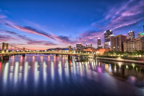 alleghenyriver andywarholbridge hdr nikon nikond5300 outdoor pennsylvania pittsburgh architecture bridge building buildings city clouds color colorful downtown geotagged light lights longexposure morning reflection reflections river sky skyscraper skyscrapers sunrise tree trees urban water cityscape