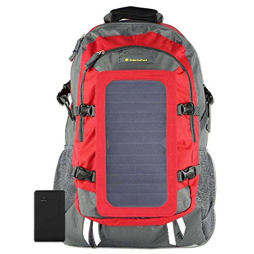 SolarGoPack Solar Powered Backpack / 7 Watt Solar Panel and 10K mAh Charging Battery Daypack / Phone and Electronic Device Power Charger Back Pack / Red