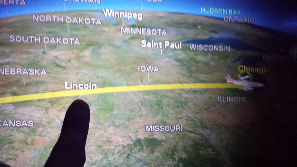 Pointing to Lincoln, NE on the flight map