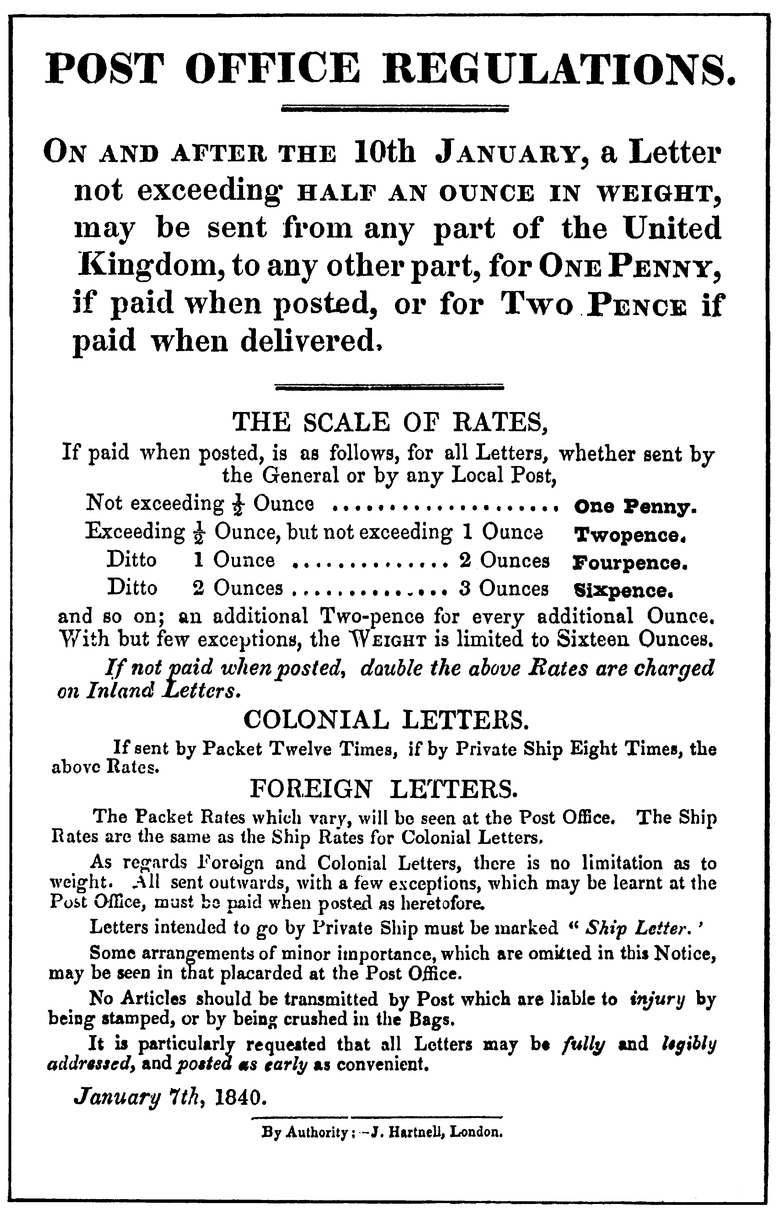 Post Office Regulations handbill giving details of the Uniform Penny Post, dated January 7, 1840.
