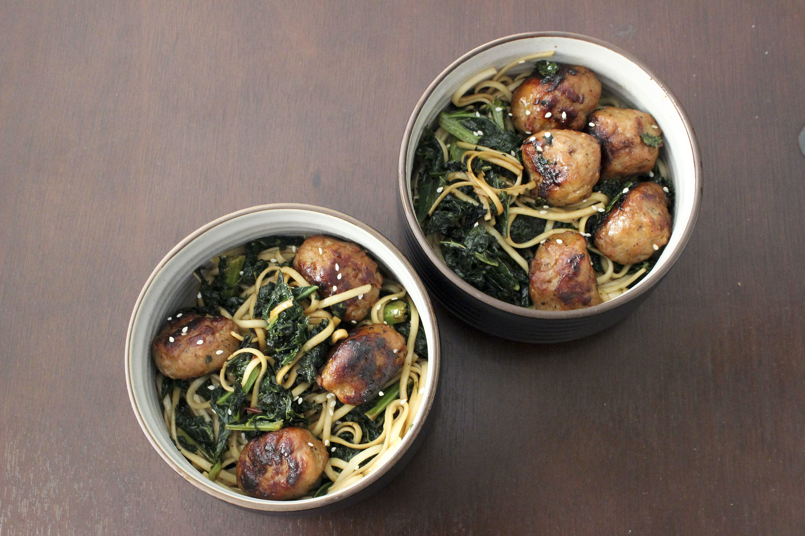 Easy teriyaki meatballs with udon noodles