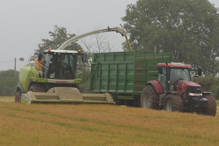 Claas Jaguar 870 SPFH filling a Broughan Engineering Mega HiSpeed Trailer drawn by a Case IH Puma 215 Tractor