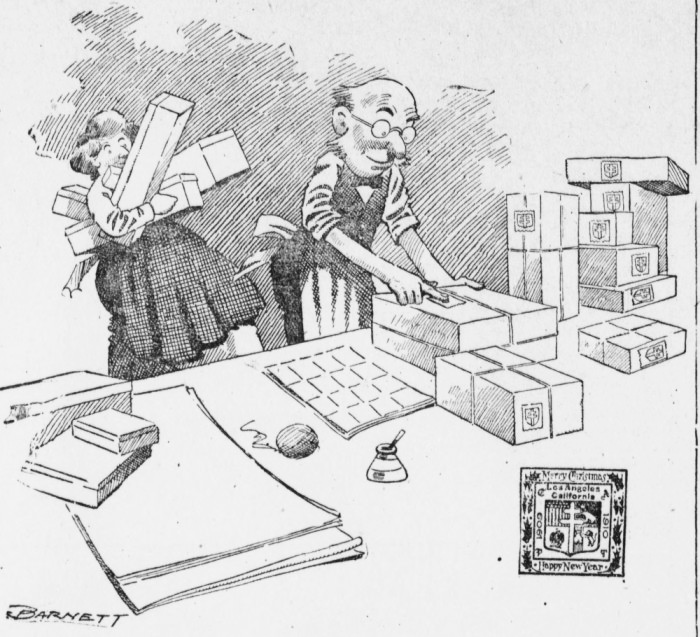 Newspaper cartoon of a man affixing Christmas seals on a package while his wife brings more packages to him. A drawing of a local Christmas seal from Los Angeles, California, is at lower right. The original 1909 caption with this cartoon from the Los Angeles Herald of December 16, 1909, was
