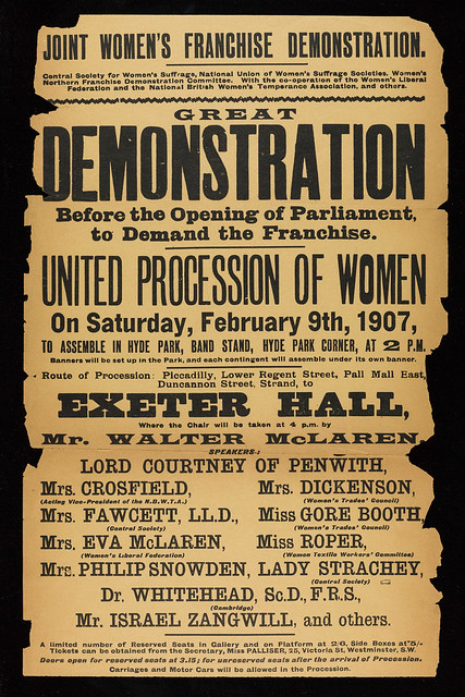 Poster for NUWSS's first procession in London ('Mud March'). Credit: LSE Library