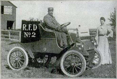 U.S. Rural Free Mail Delivery to curbside mailbox. Photo published in Popular Mechanics, September 1905.