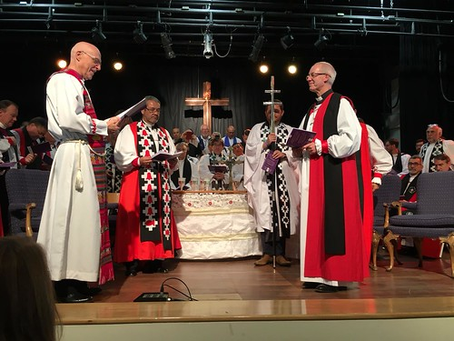Archbishops Greg Venables (South America), Hector - Tito - Zavala Munoz (Chile) and Justin Welby (Canterbury) at the Iglesia Anglicana de Chile becomes the 40th province of the Anglican Communion