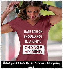 Hate Speech Should Not Be A Crime - Change My Mind. Women's: Anvil Ladies' V-Neck T-Shirt. Independence Red.  | Loyal Nine Apparel