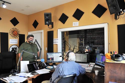 Duane Williams and Breaux Bridges on the air - 10.24.18. Photo by Michael E. McAndrew.
