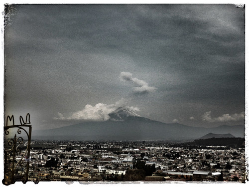 Photo of the actual volcano in Cholula, Mexico, run through the photo app Snapseed