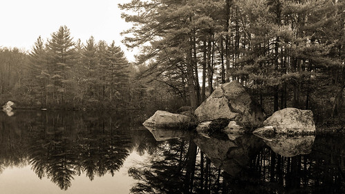 stoughton massachusetts unitedstates us water pond trees rocks reflection calm