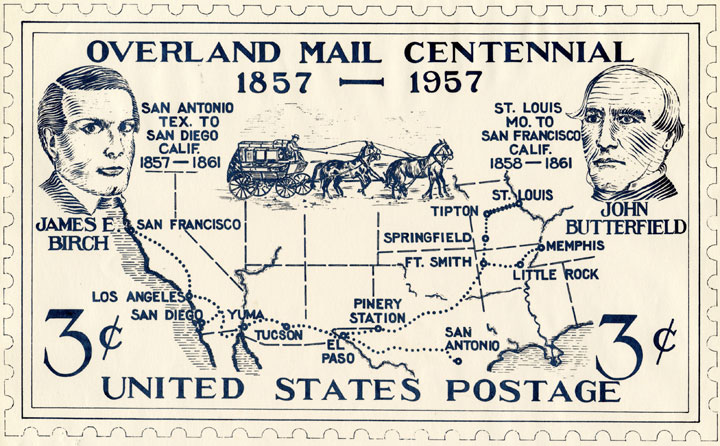 Unsolicited stamp design submitted by the California Overland Mail Centennials Committee honoring both James E. Birch and John Butterfield.