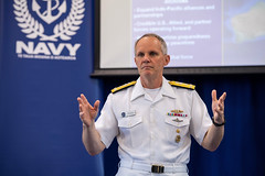 Vice Adm. Phil Sawyer speaks to attendees at the Royal New Zealand Navy's annual Fleet Warfare Forum, Oct. 29. (New Zealand Defence Force photo)