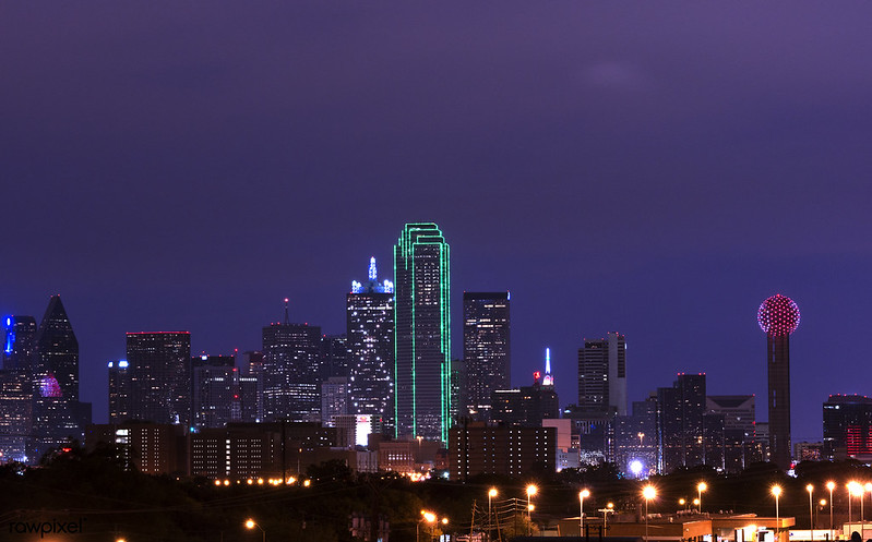 Skyline of Dallas, Texas, at dusk. Original image from Carol M. Highsmith's America, Library of Congress collection. Digitally enhanced by rawpixel.