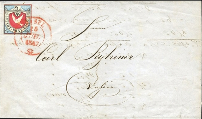 Cover posted in 1847 bearing a single copy of the Basel Dove. From the Schwarzenbach Auction, 2015