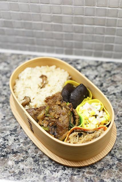 bento #23:  shogayaki, mushroom, enoki salad etc