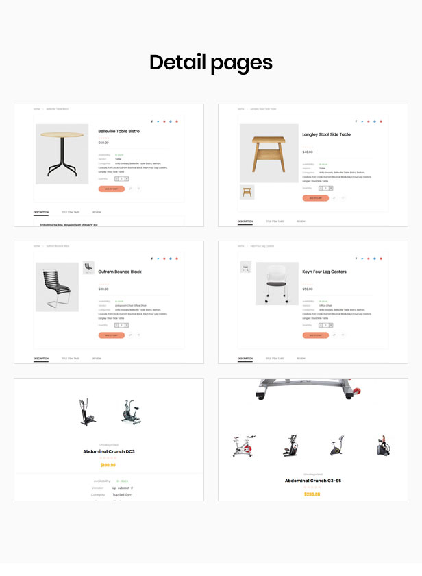 shopify theme parallax - multiple layout styles for product detail page