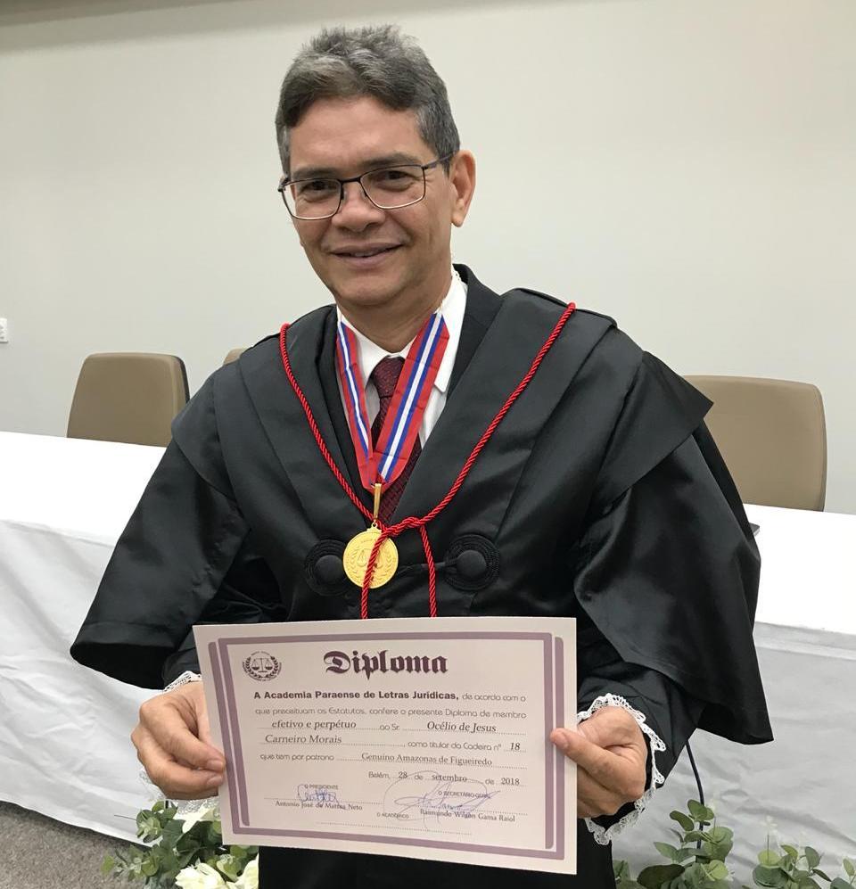 Academia de Letras Jurídica do Pará dá posse pela 1ª vez a um juiz de primeiro grau , Océlio Morais, juiz do trabalho