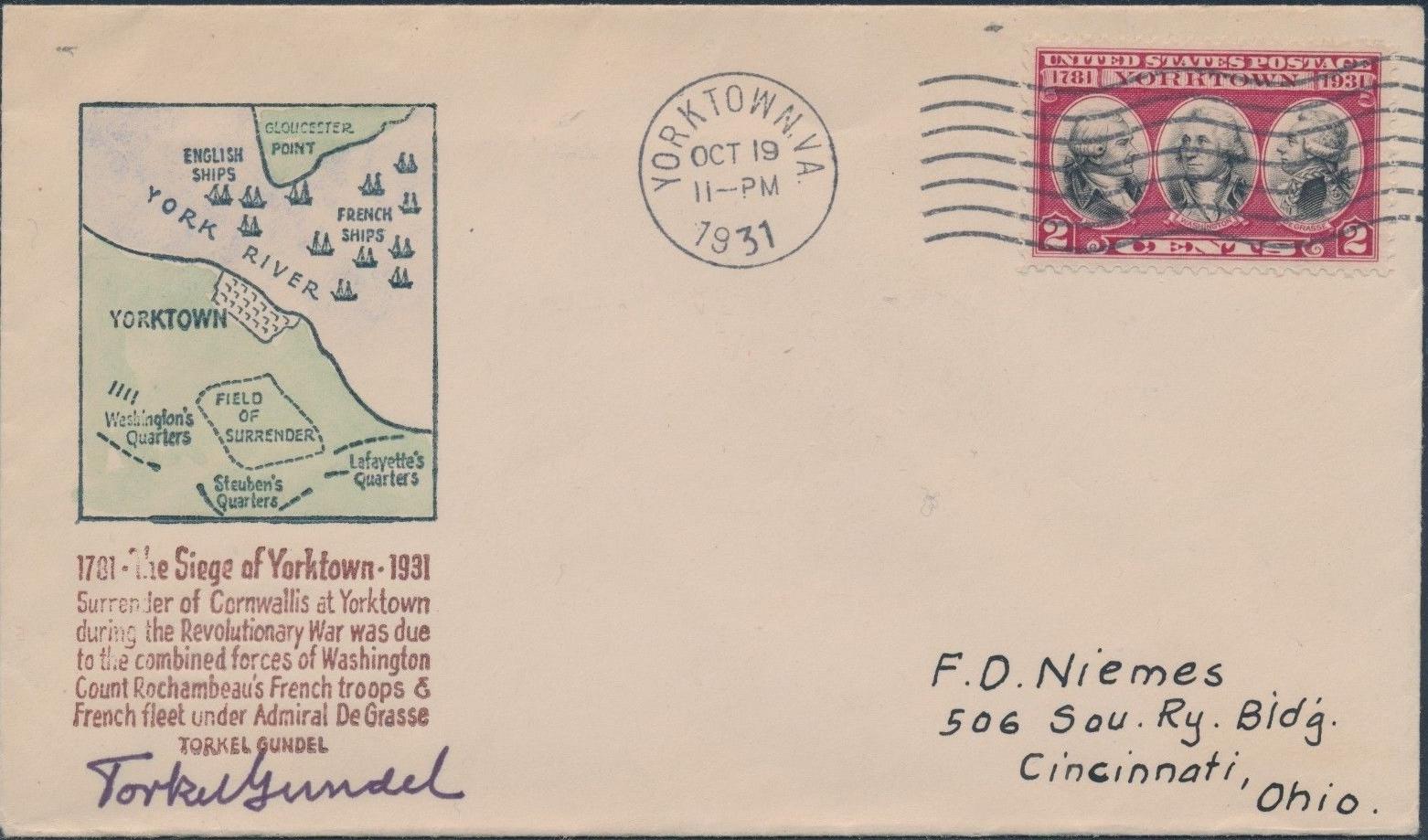 United States - Scott #703 (1931) first day cover; Gundel cachet