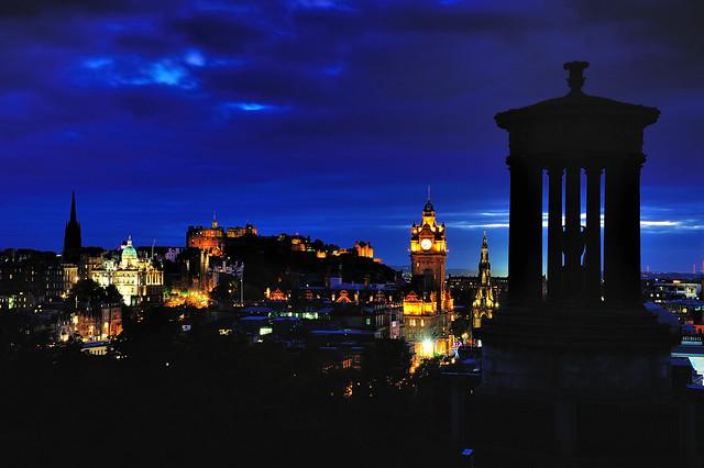 Dusk descends across Edinburgh