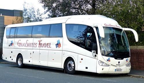 YN08 DGY 'GrayShells Travel'. Scania K340EB4 / Irizar PB on 'Dennis Basfords railsroadsrunways.blogspot.co.uk