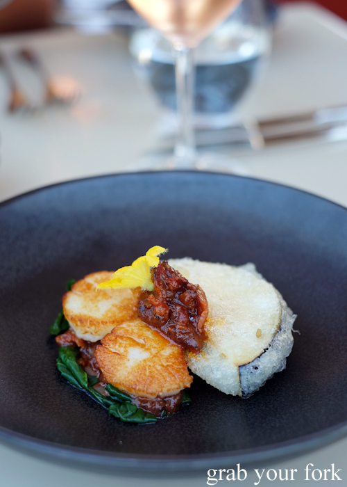 Crispy eggplant with sea scallops at Bennelong Restaurant in the Sydney Opera House