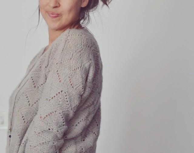 Pull Enora tricot dentelle. Laine teintée main
