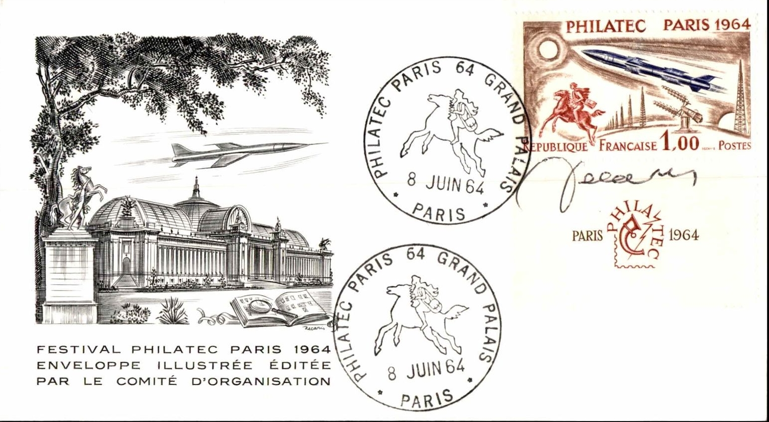 France - Scott #1100 (1964) on a cover posted from the PHILATEC exhibition in Paris. The cachet features a view of the Grand Palais and one of the Horses of Marly.