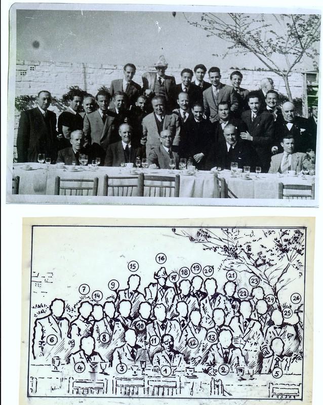 """Retaurante """"Merendón"""". Homenaje a Enrique Vera con motivo de su nombramiento como académico de la RABASF el 3 de abril de 1949. Colección de Félix del Valle"""