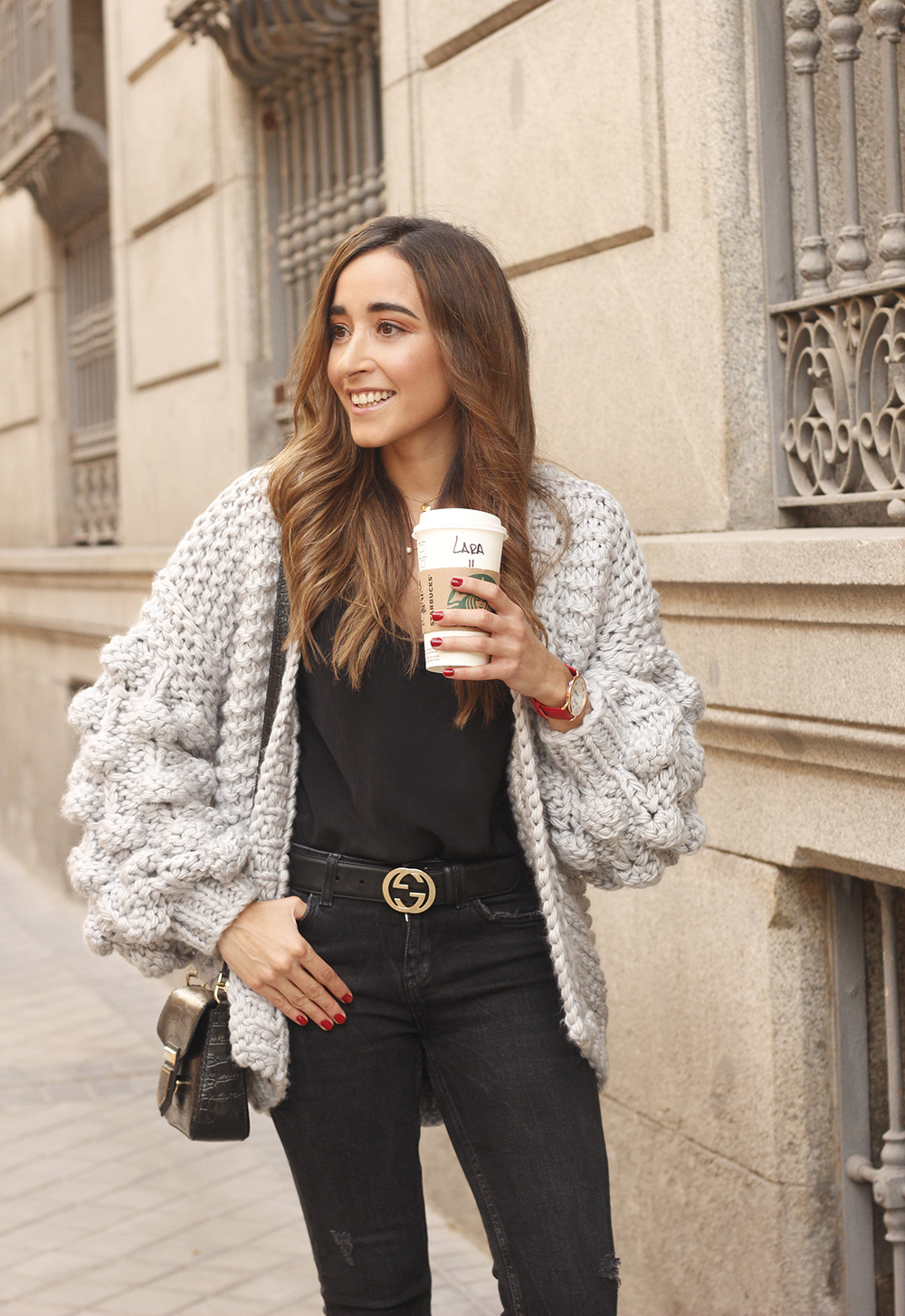 Grey cardigan black jeans folli folie watch leopard print heels starbucks tea street style fall outfit 201808